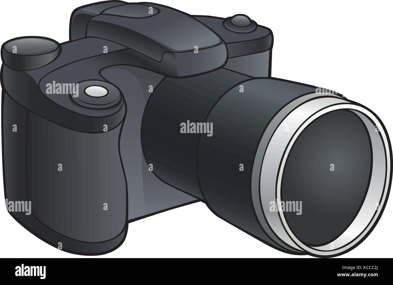 Vector illustration of digital camera with zoom lens - Stock Image