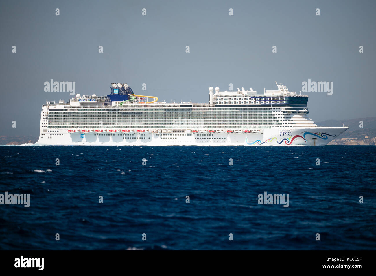 TYRRHENIAN SEA, FRANCE - AUG 28, 2017: Beautiful cruise ship Norwegian Epic on voyage in between islands of Sardinia - Stock Image