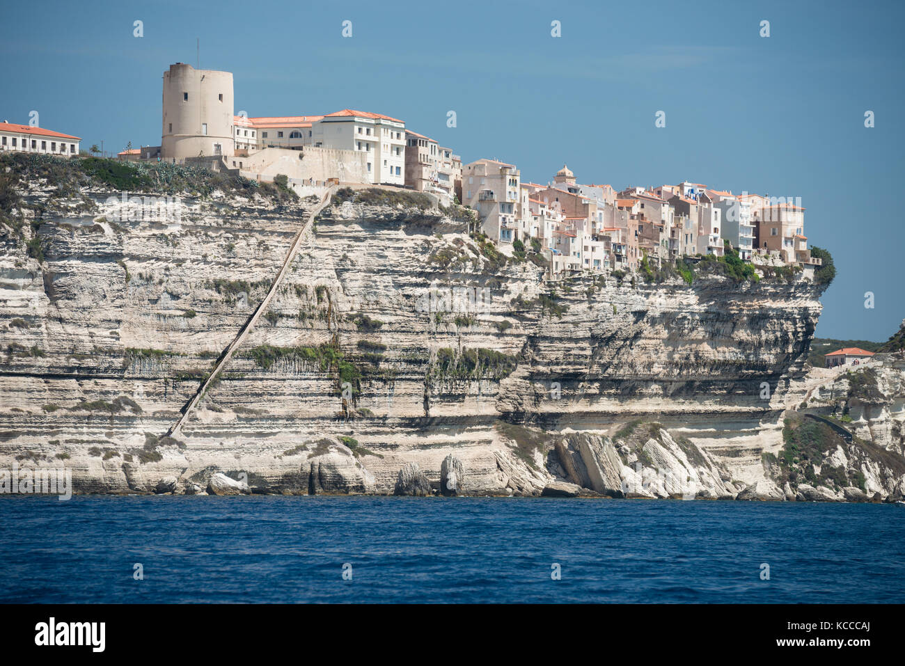 Bonifacio city and cliffs, Corsica island, France - Stock Image