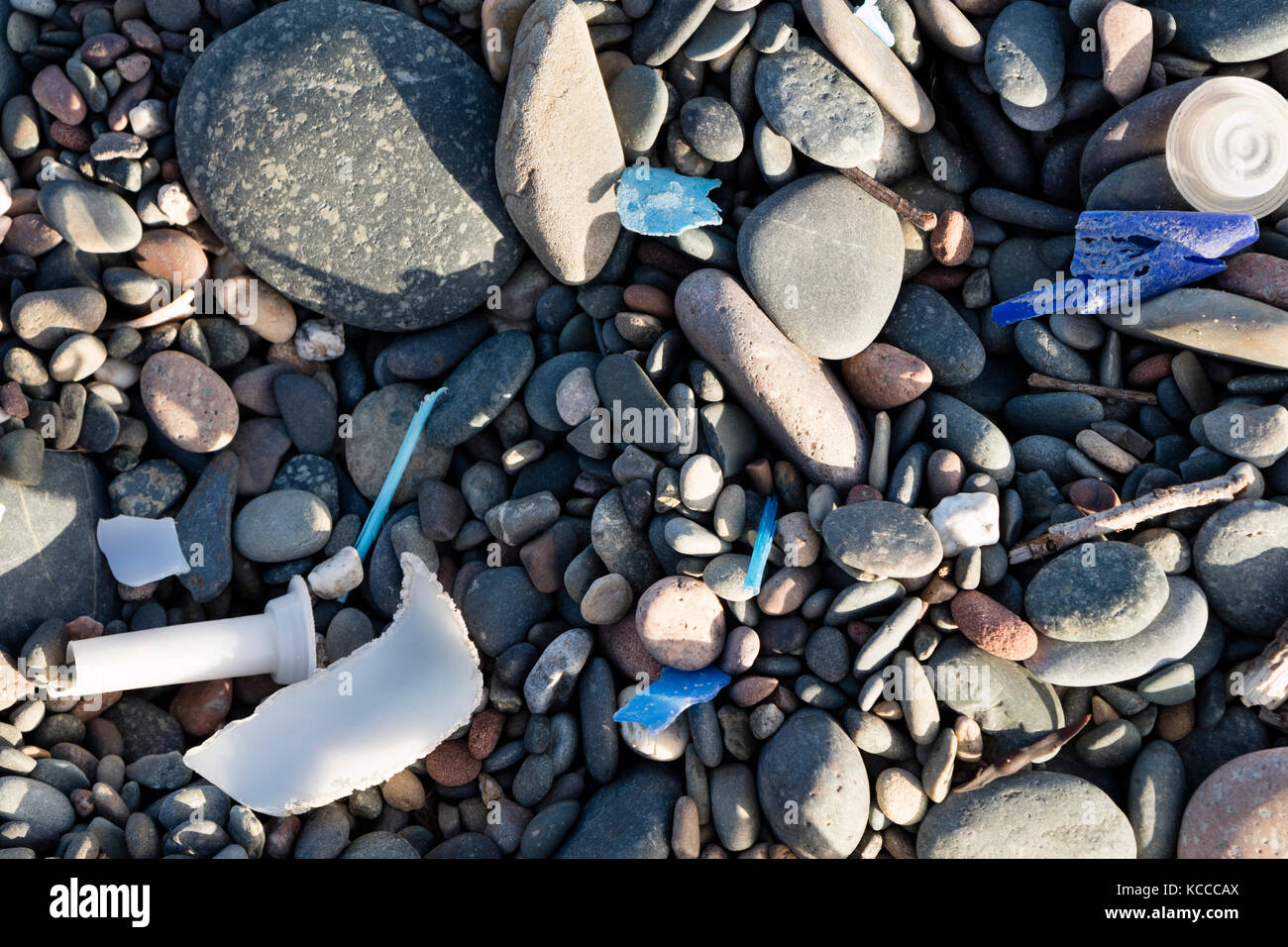 Plastic Debris Washed up on the Beach of St Bees, Cumbria, UK - Stock Image