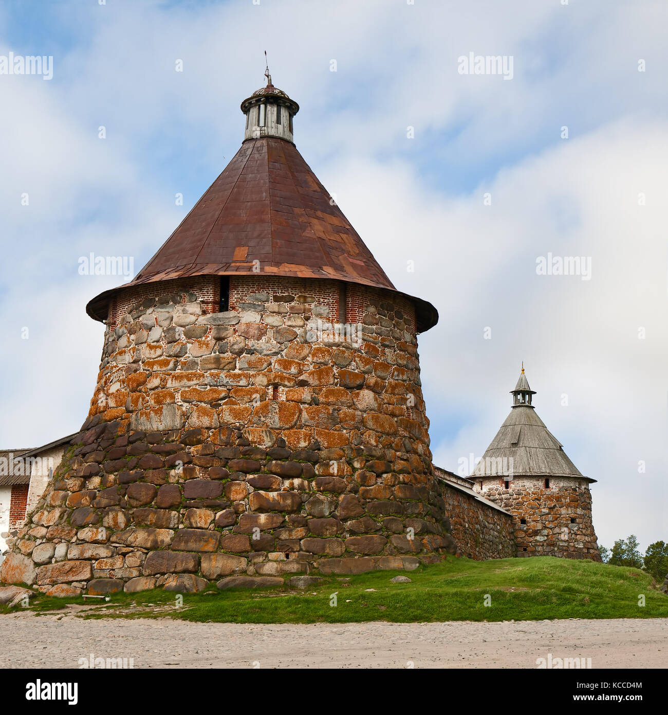 The towers of the Solovetsky monastery, Solovetsky archipelago, Russia Stock Photo