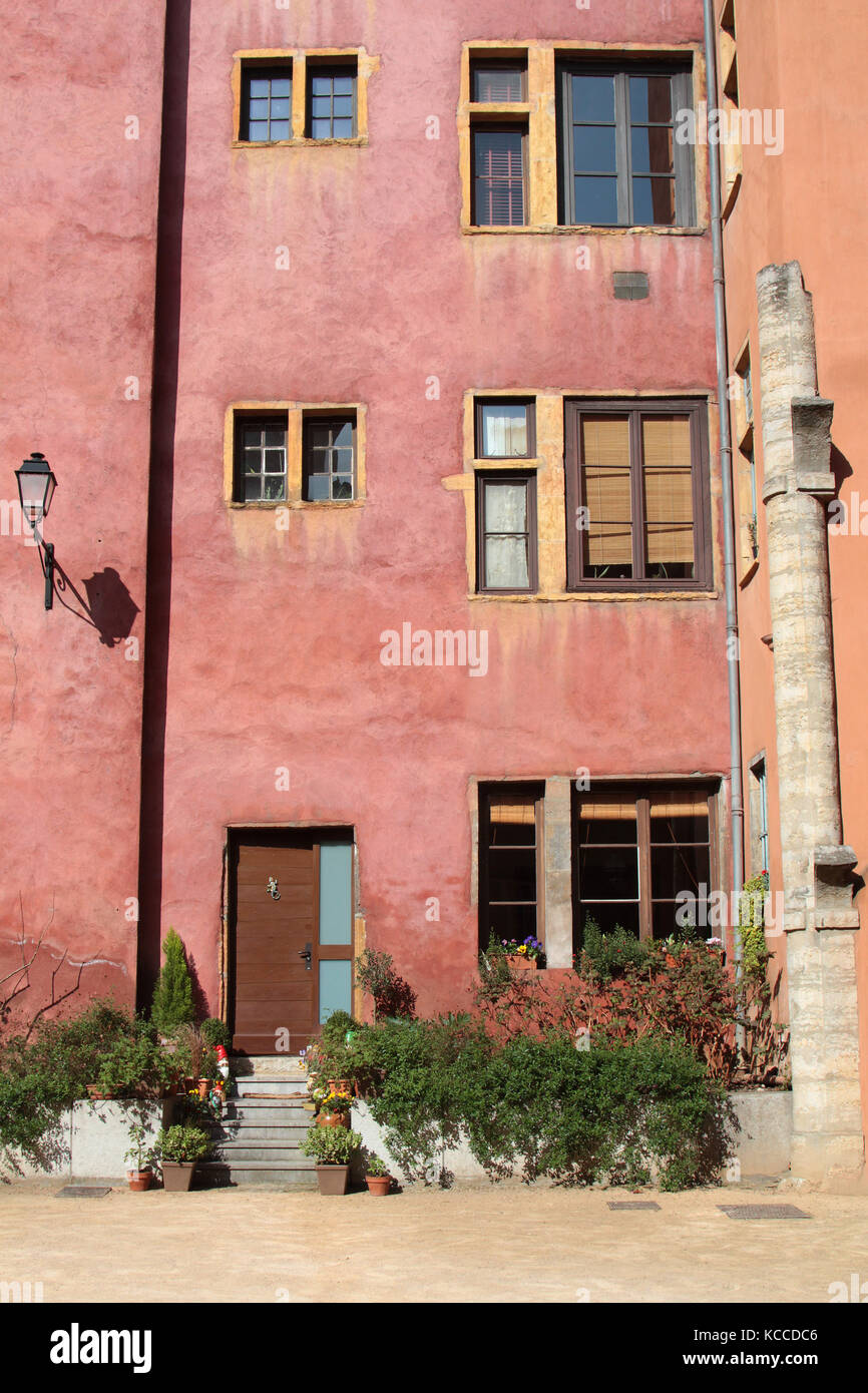 LYON, FRANCE, MARCH 16, 2014 : Traditionnal architecture in Lyon. Together with its suburbs and satellite towns, - Stock Image