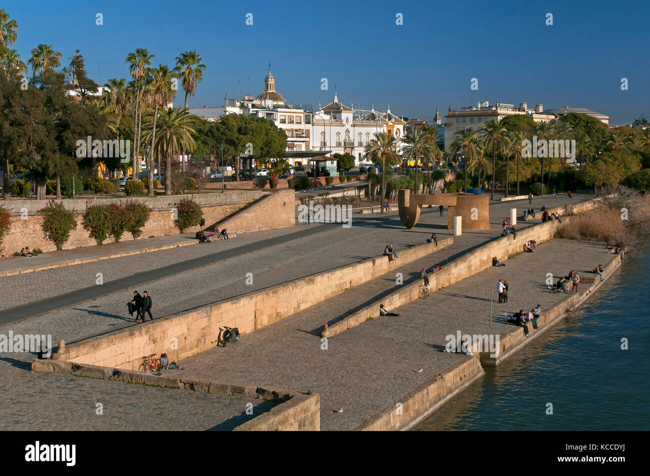 Muelle de la Sal and Monument to the Tolerance, Seville, Region of Andalusia, Spain, Europe - Stock Image