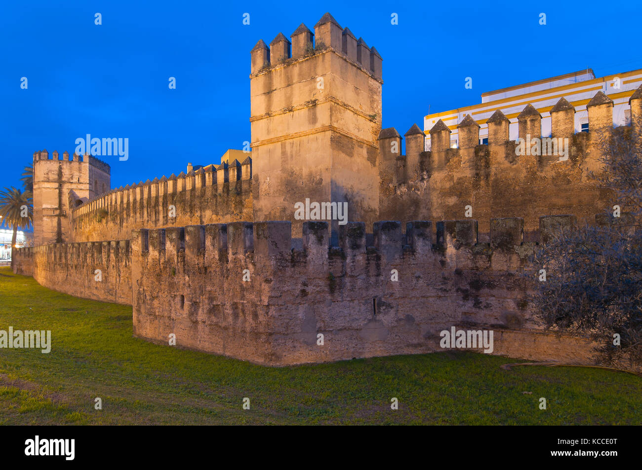 Walls of the Macarena at dusk, Seville, Region of Andalusia, Spain, Europe - Stock Image