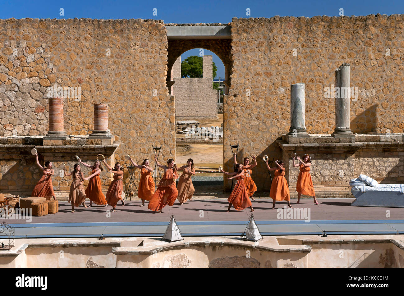 Roman ruins of Italica -theater and spectacle, Santiponce, Seville province, Region of Andalusia, Spain, Europe - Stock Image