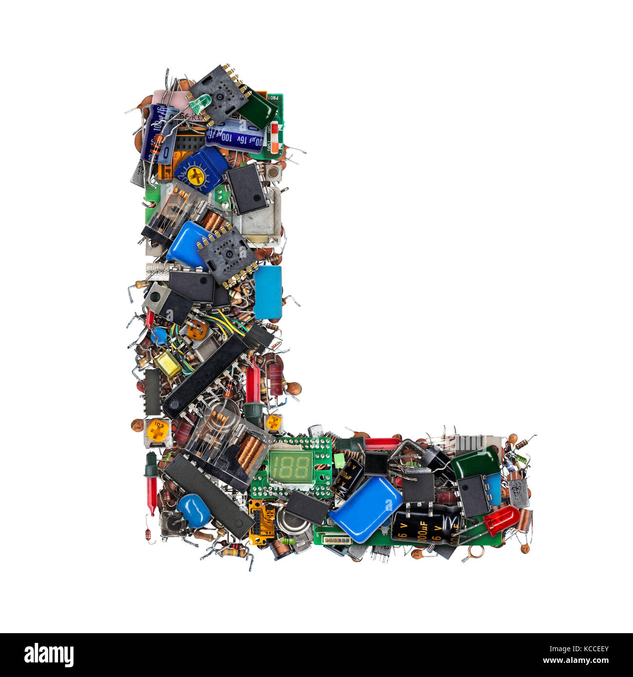 Letter L Made Of Electronic Components Isolated On White Background