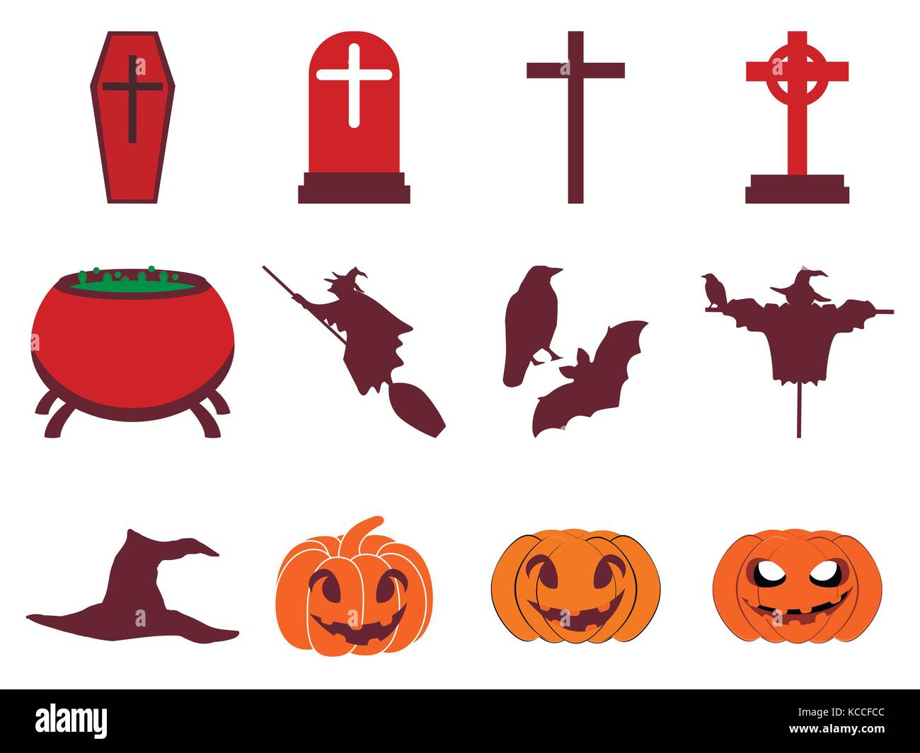 Halloween icon set flat isolated on white background. Vector illustration - Stock Vector