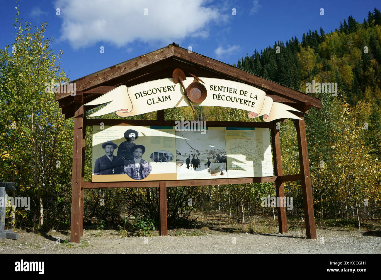 Discovery claim marker of Kondike gold rush on Bonanza creek, Dawson City, Yukon Territory, Canada - Stock Image