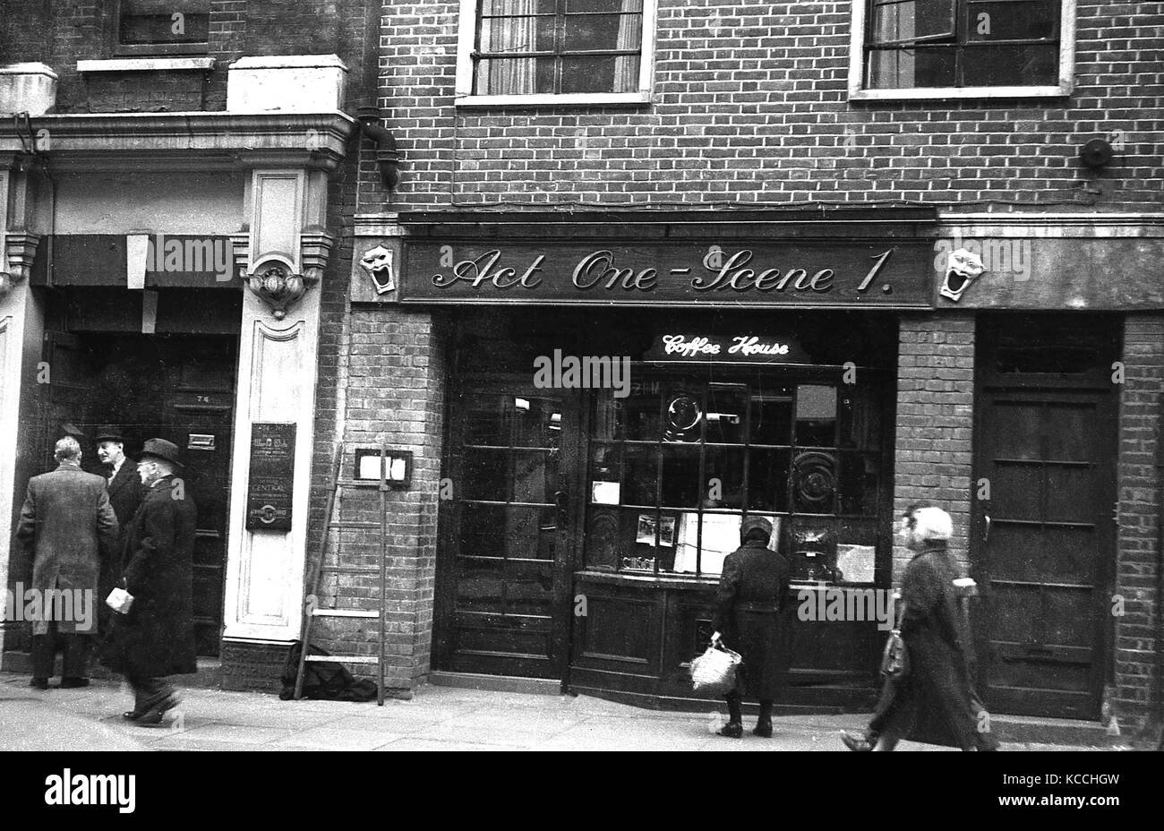Late 1950s, historical picture showing the exterior of the Soho coffee house, Act one -Scene 1, a venue thaw would - Stock Image