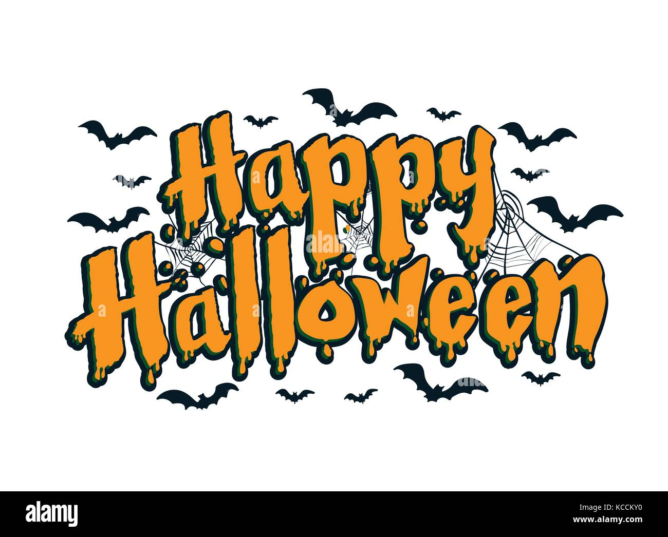 Lettering Of Happy Halloween With Spider And Web Calligraphy Design Stock Vector Image Art Alamy