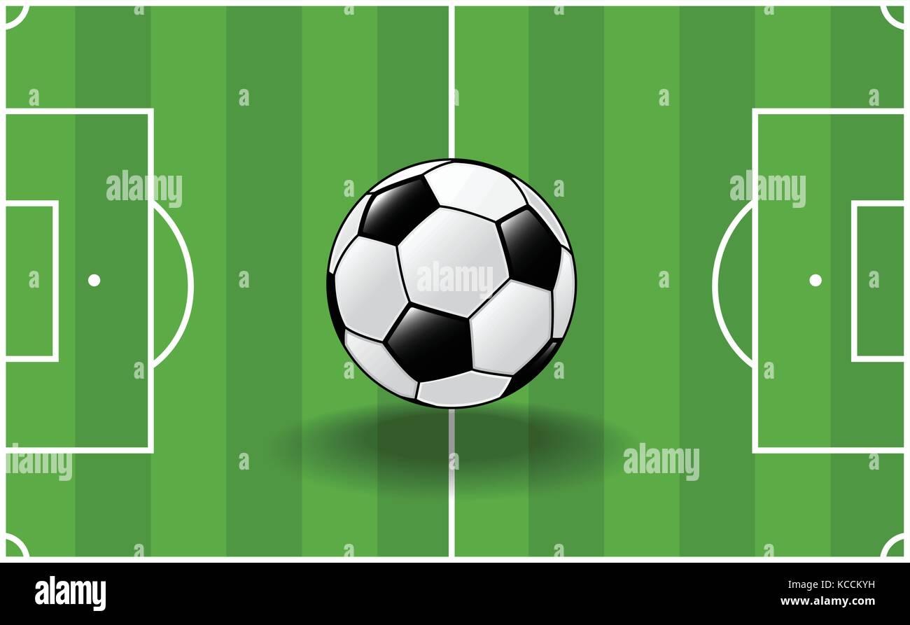 Soccer ball, traditional ball on soccer field background-Vector Illustration - Stock Vector