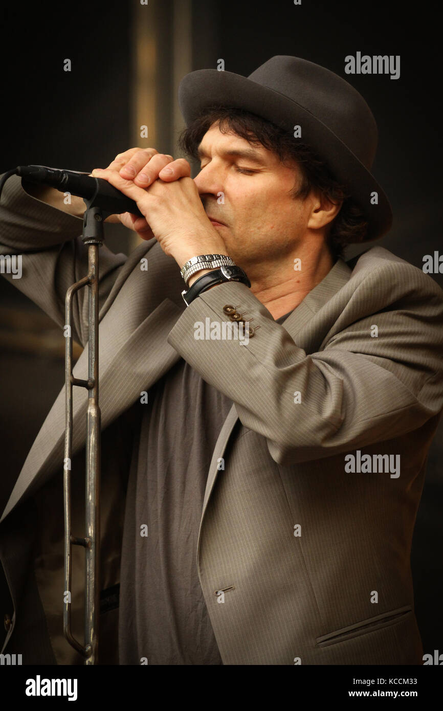The Swedish singer, songwriter and rock musician Thåström performs a live concert at the Norwegian music - Stock Image