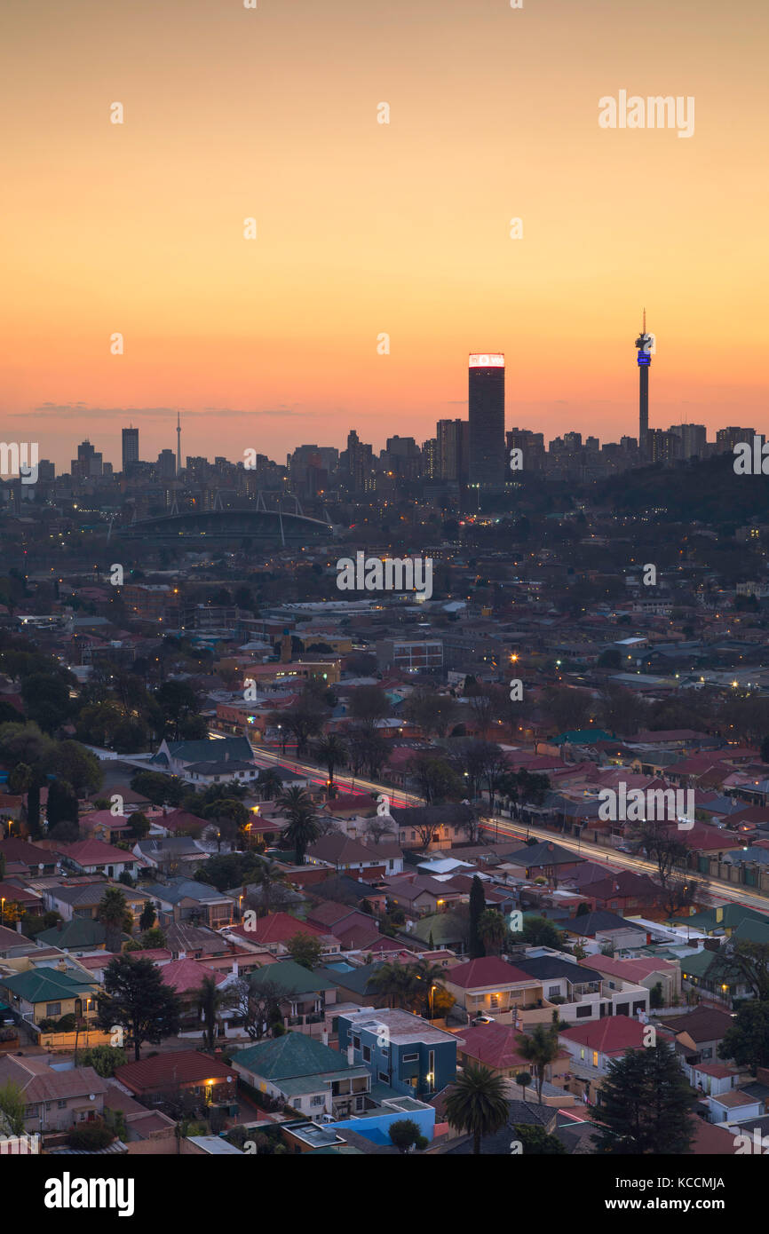 View of skyline at sunset, Johannesburg, Gauteng, South Africa - Stock Image