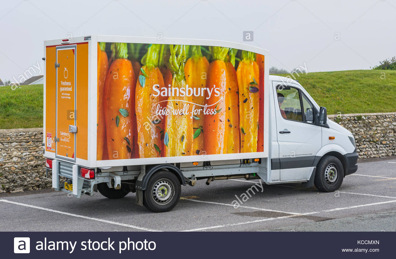 Sainsburys food delivery van parked up in the UK. - Stock Image