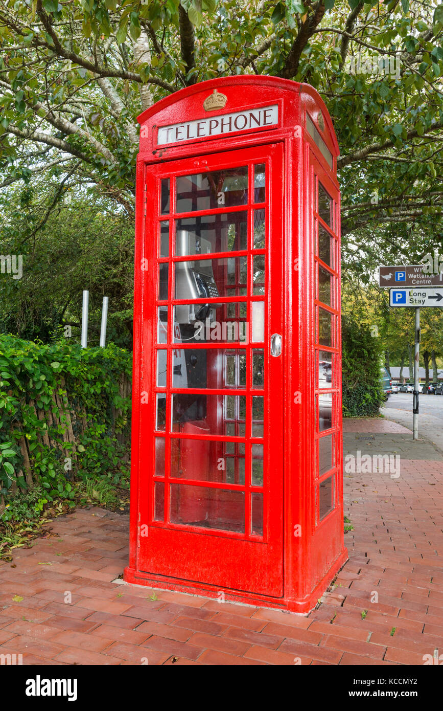 Old K6 BT red telephone box in Arundel, West Sussex, England, UK. - Stock Image
