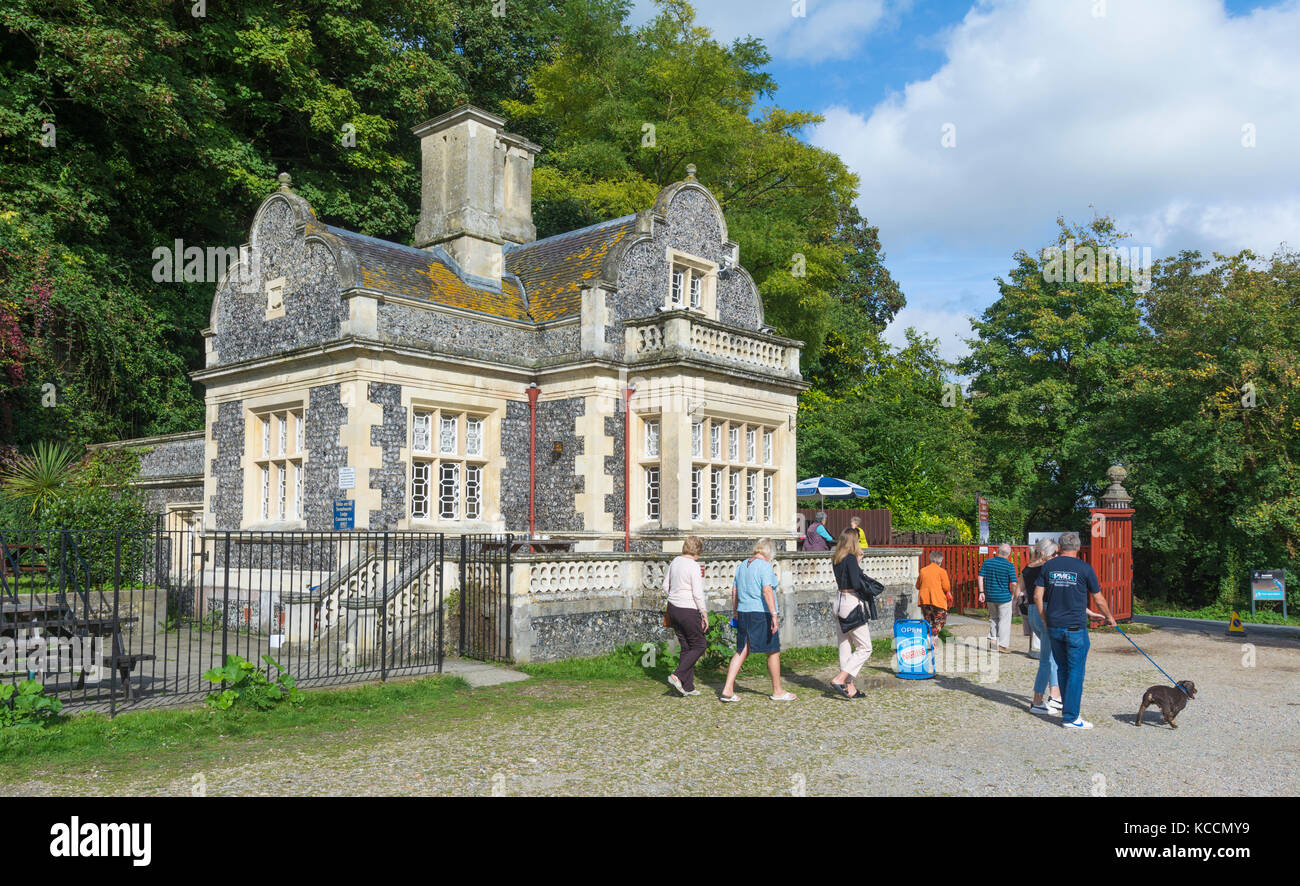 Swanbourne Lodge, a historic stone building used as a cafe at Swanbourne Lake in Arundel, West Sussex, England, - Stock Image