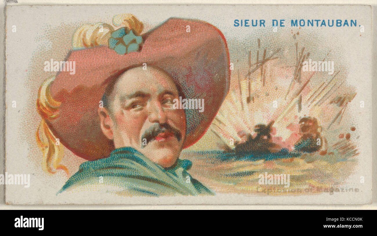 Sieur de Montauban, Explosion of Magazine, from the Pirates of the Spanish Main series (N19) for Allen & Ginter - Stock Image