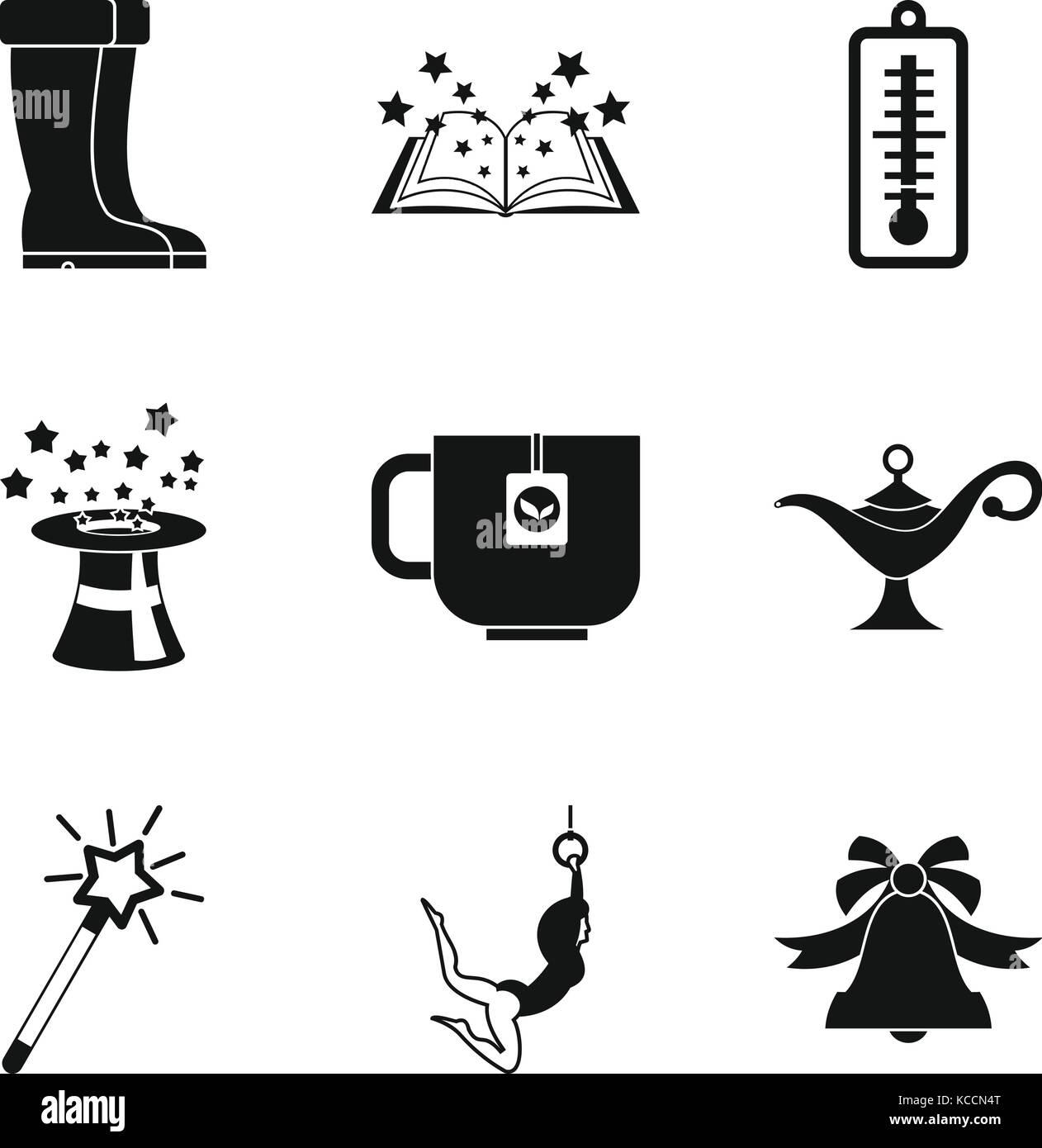 School break icons set, simple style - Stock Vector