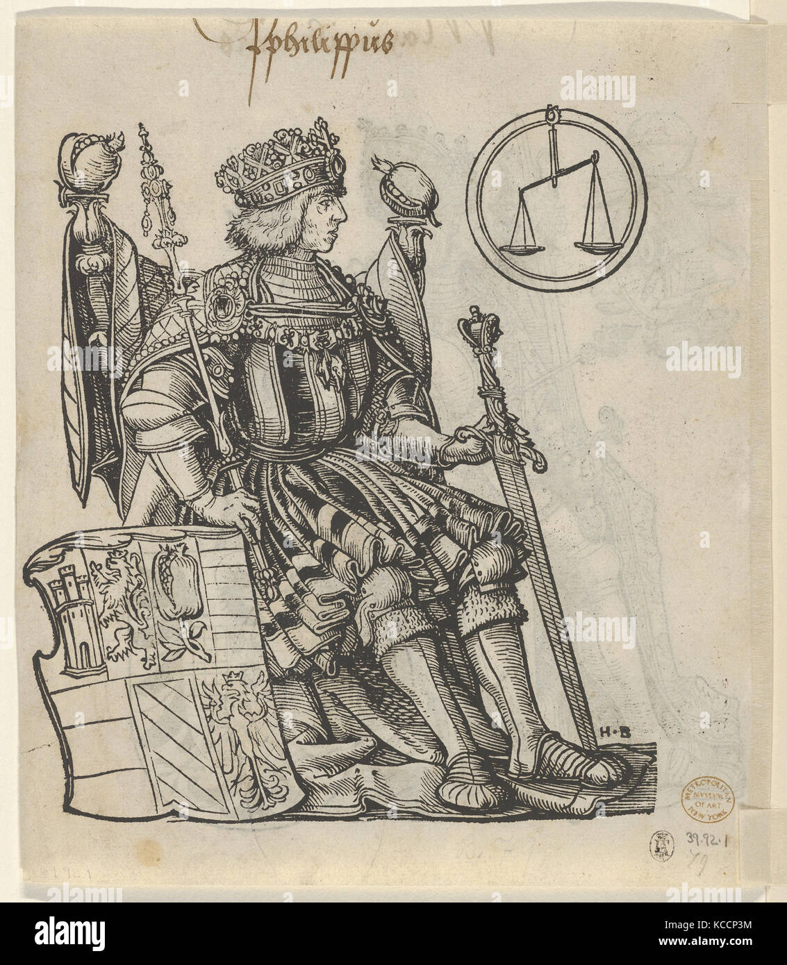 Verso of a Sheet with Philip the Belle, from The Genealogy of Emperor Maximilian I, Hans Burgkmair, 1509–12 - Stock Image