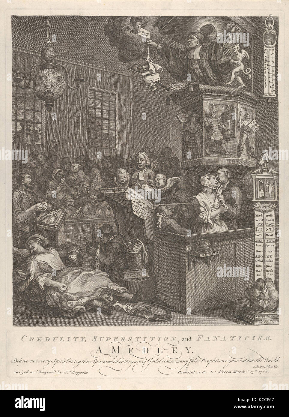 Credulity, Superstition, and Fanaticism, William Hogarth, March 15, 1762 - Stock Image