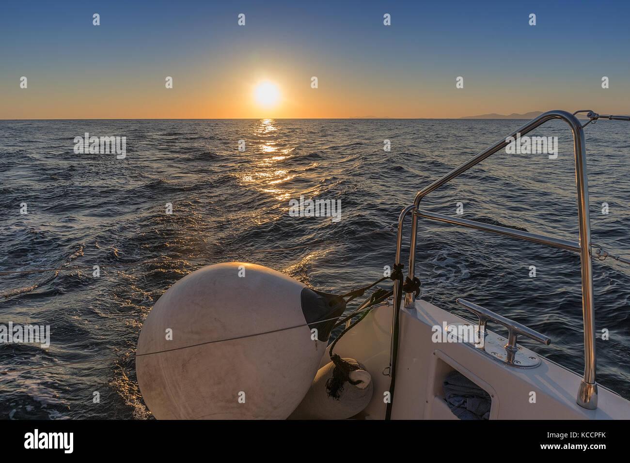Boat buoy with sunset. Stock Photo