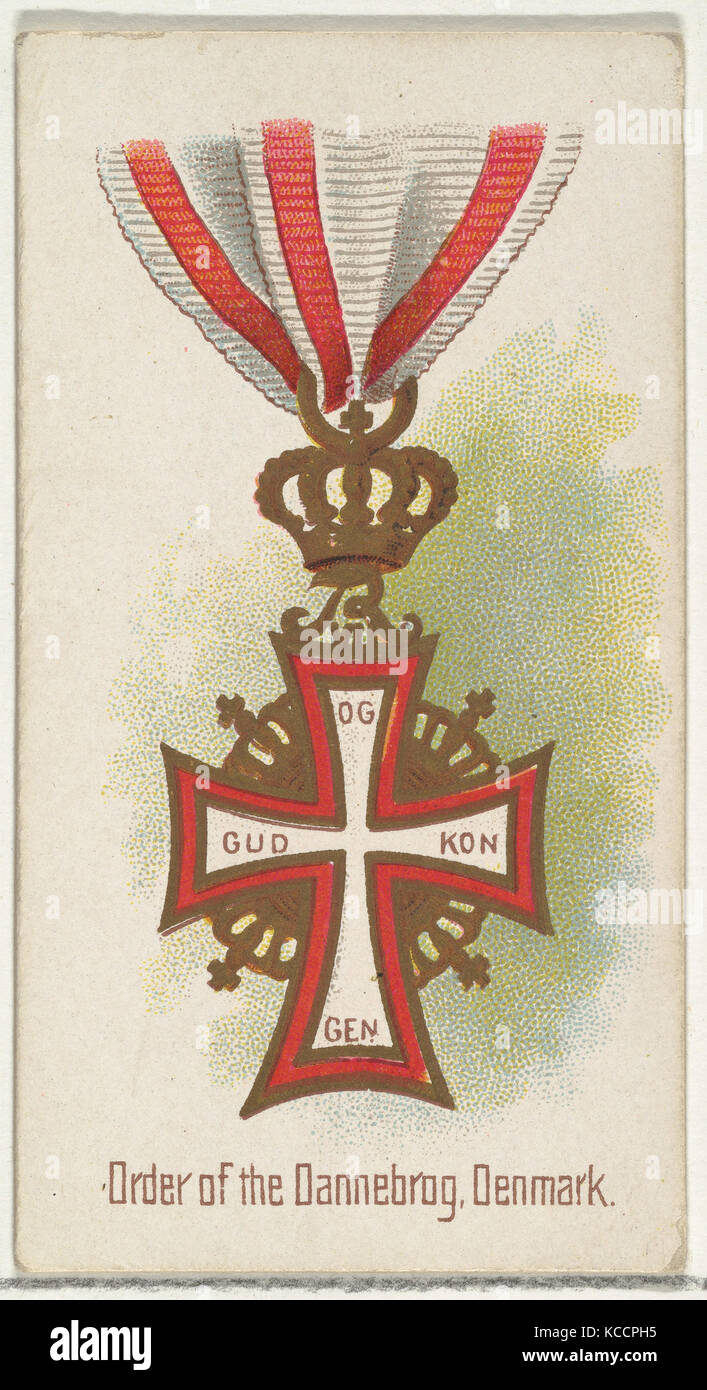 Order of the Dannebrog, Denmark, from the World's Decorations series (N30) for Allen & Ginter Cigarettes, - Stock Image