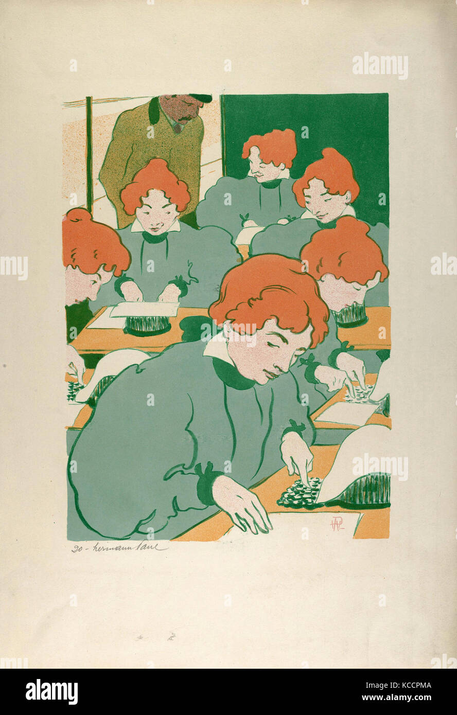 Drawings and Prints, Print, The Typists, Artist, Publisher, René-Georges Hermann-Paul, Ambroise Vollard, French, - Stock Image