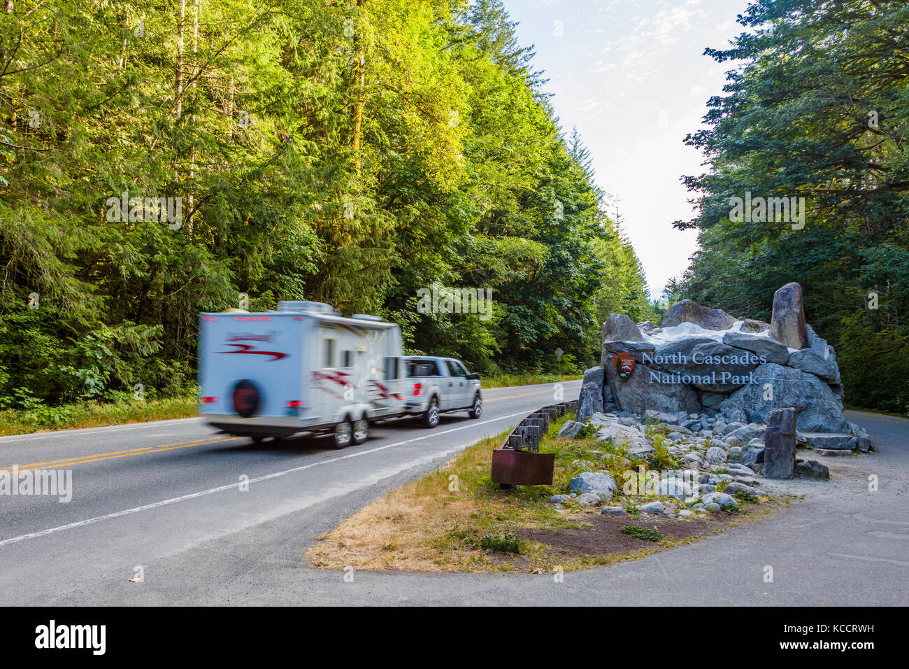 Camping trailer at entrance sign to North Cascades National Park in Northwest Washington State Stock Photo