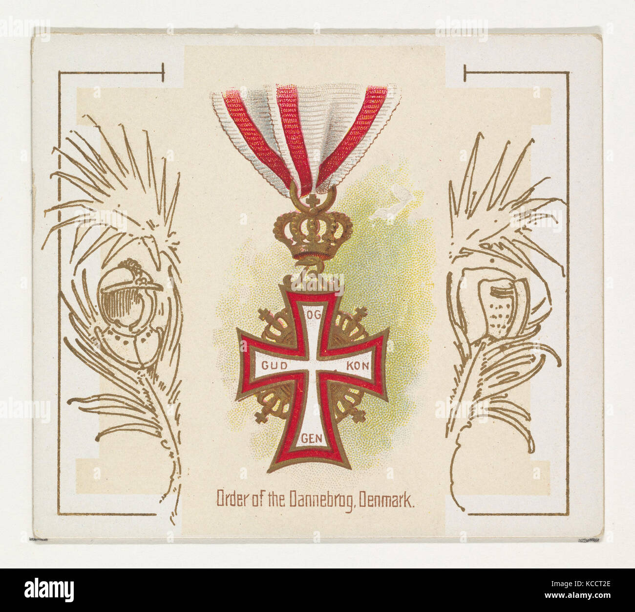Order of the Dannebrog, Denmark, from the World's Decorations series (N44) for Allen & Ginter Cigarettes, - Stock Image