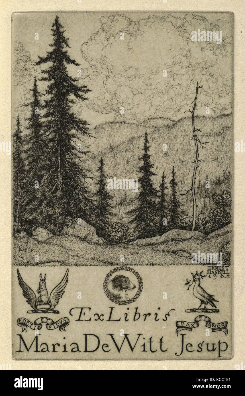Drawings and Prints, Print, Ex Libris Maria DeWitt Jesup, Artist, Ernest Haskell, American, Woodstock, Connecticut - Stock Image