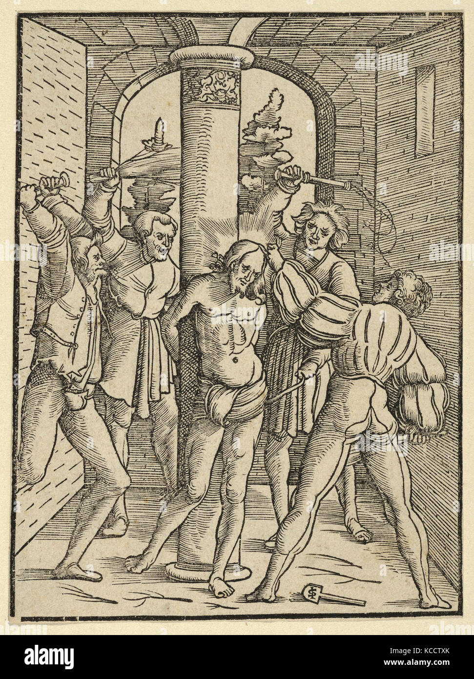 Drawings and Prints, Christ Scourged, from The Doctrine, Life, and Passion of Jesus Christ, Artist, Hans Schäufelein - Stock Image