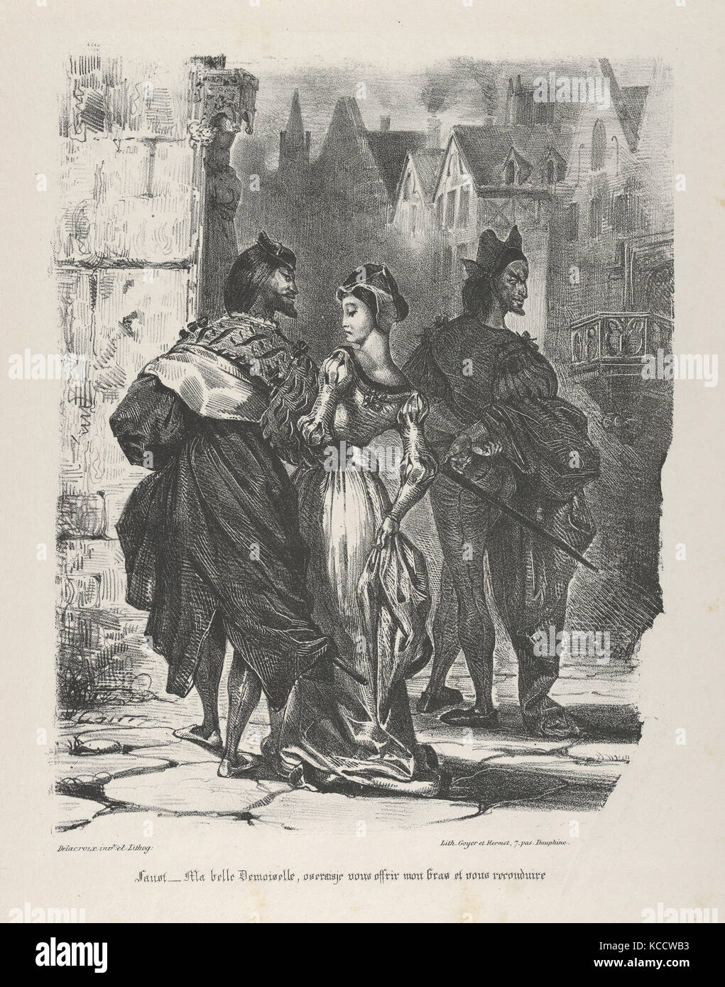 Faust Trying to Seduce Marguerite (Goethe, Faust), Eugène Delacroix, 1825–27 - Stock Image