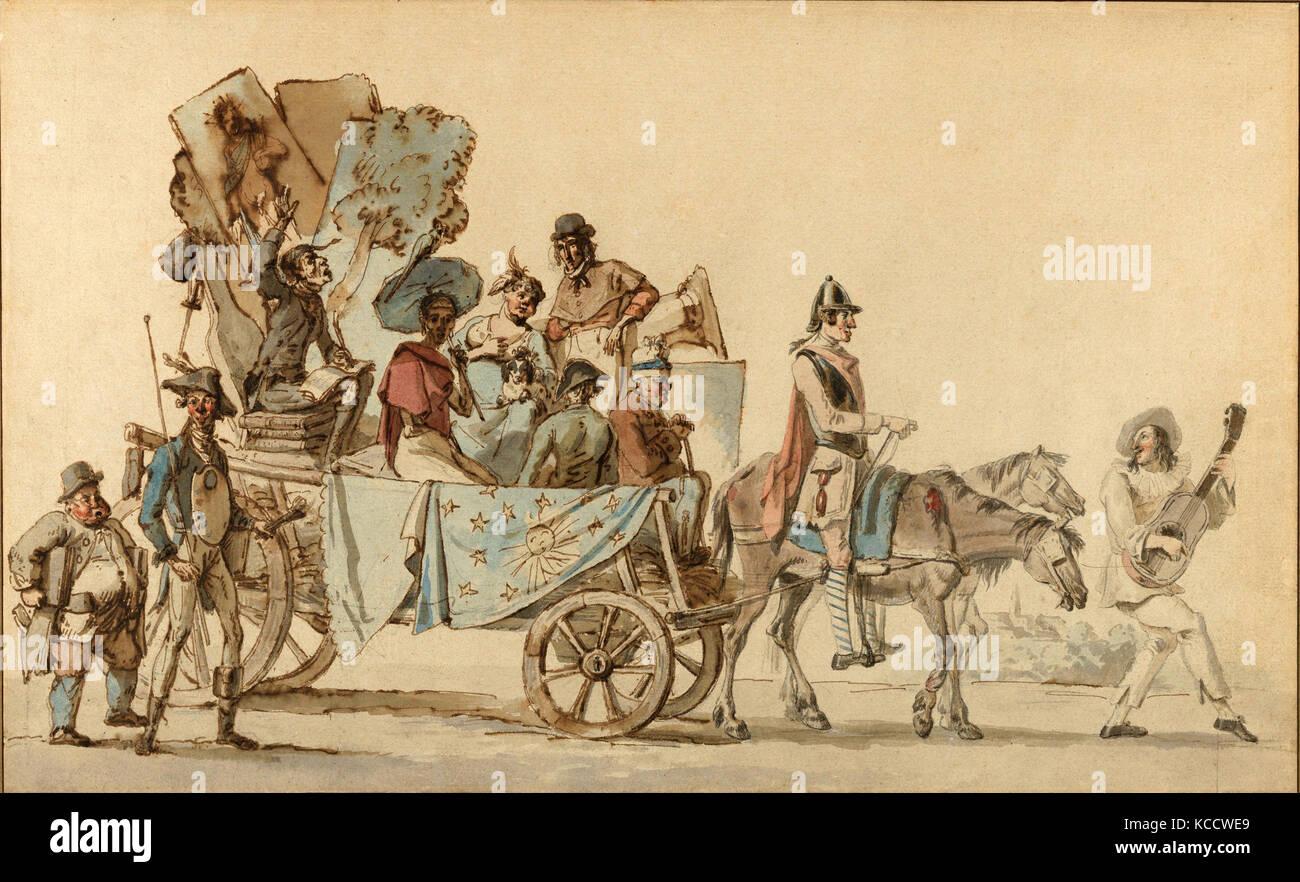 Drawings and Prints, Drawing, Artistes dramatiques en voyage, Artist, Eugene Delacroix, French, Charenton-Saint - Stock Image