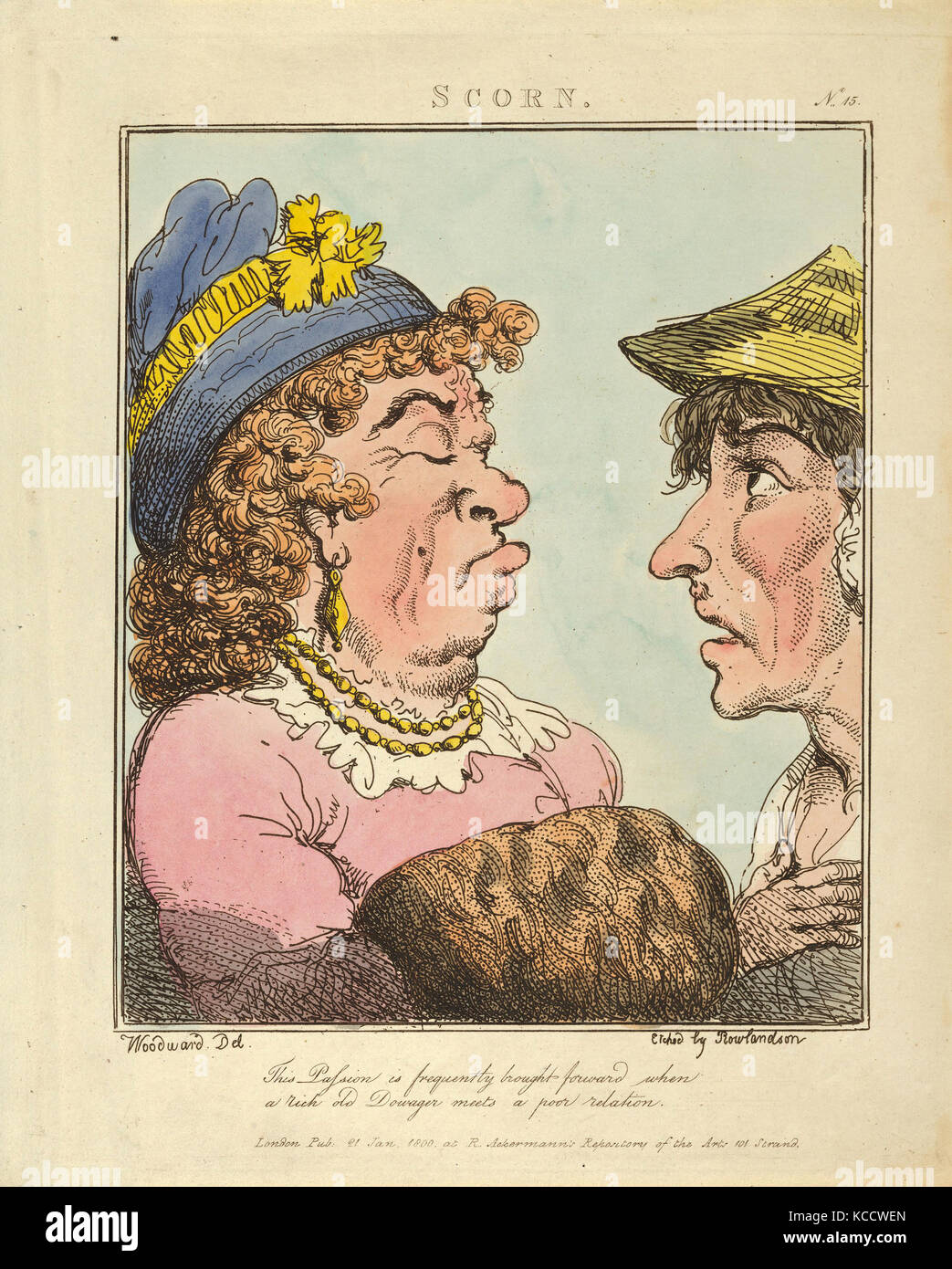 Drawings and Prints, Print, Scorn, Le Brun Travested, or Caricatures of the Passions, Thomas Rowlandson - Stock Image