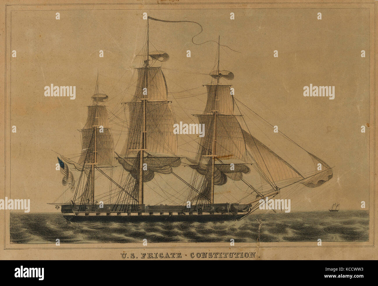 Drawings and Prints, Print, U.S. Frigate Constitution, Publisher, Lithographed and Published by, Nathaniel Currier, - Stock Image