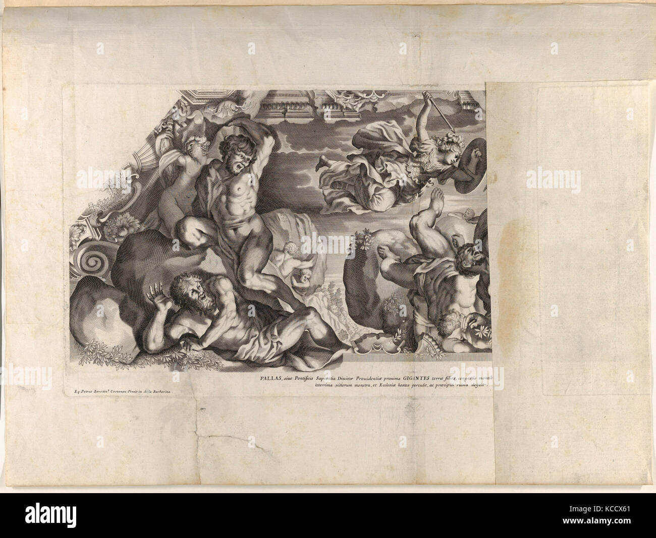 Drawings and Prints, Print, Minerva depicted at top with a shield and arrow vanquishing the Giants below, from Barberinae - Stock Image