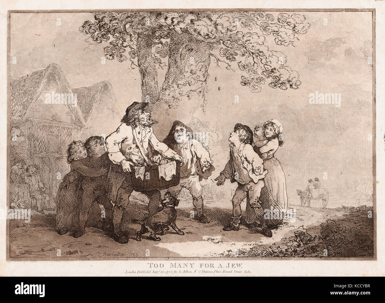 Drawings and Prints, Print, Too Many for a Jew, Artist, Publisher, Thomas Rowlandson, Samuel Alken, British, London - Stock Image