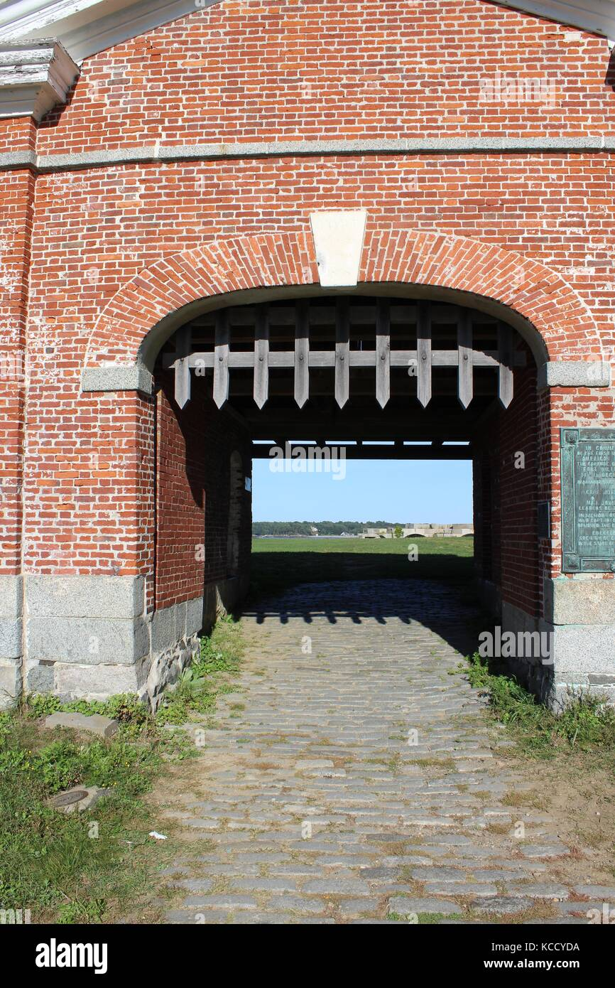 An old medieval entry way to the north atlantic ocean in New Hampshire Stock Photo
