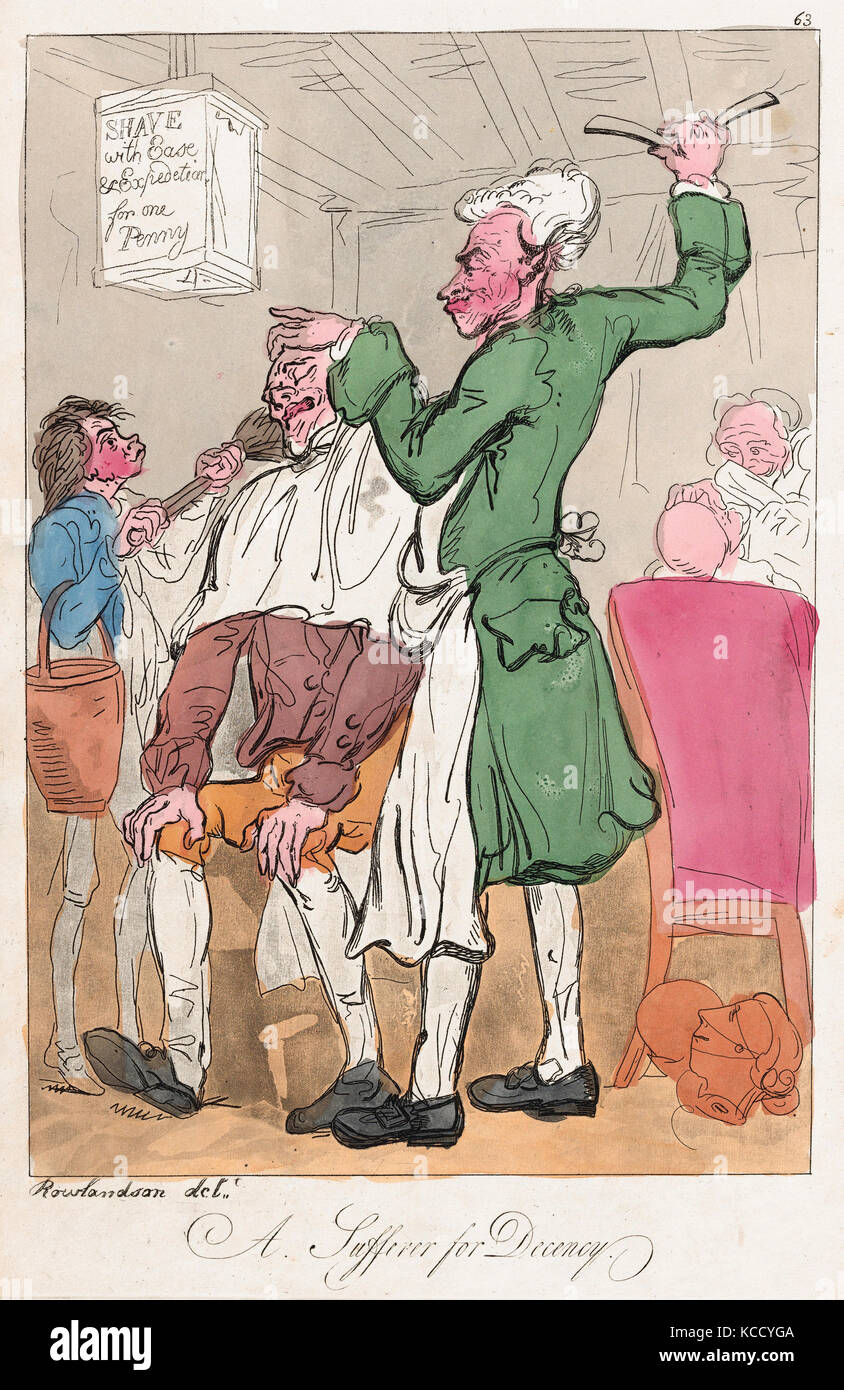Drawings and Prints, Print, A Sufferer for Decency, Publisher, Artist, Mrs. Lay, Thomas Rowlandson, British, active - Stock Image