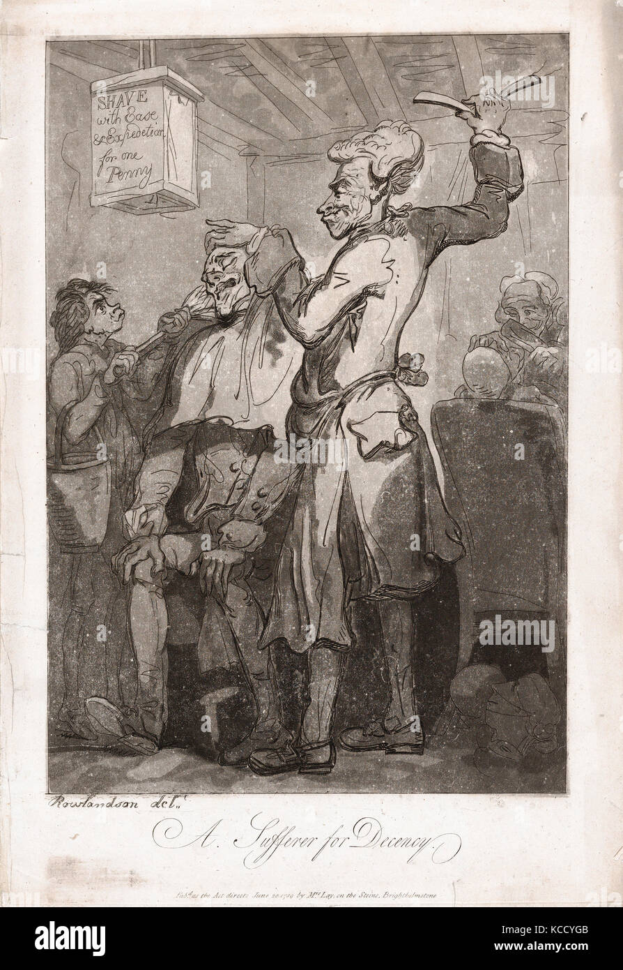 Drawings and Prints, Print, A Sufferer for Decency, Artist, Publisher, Thomas Rowlandson, Mrs. Lay, British, London - Stock Image