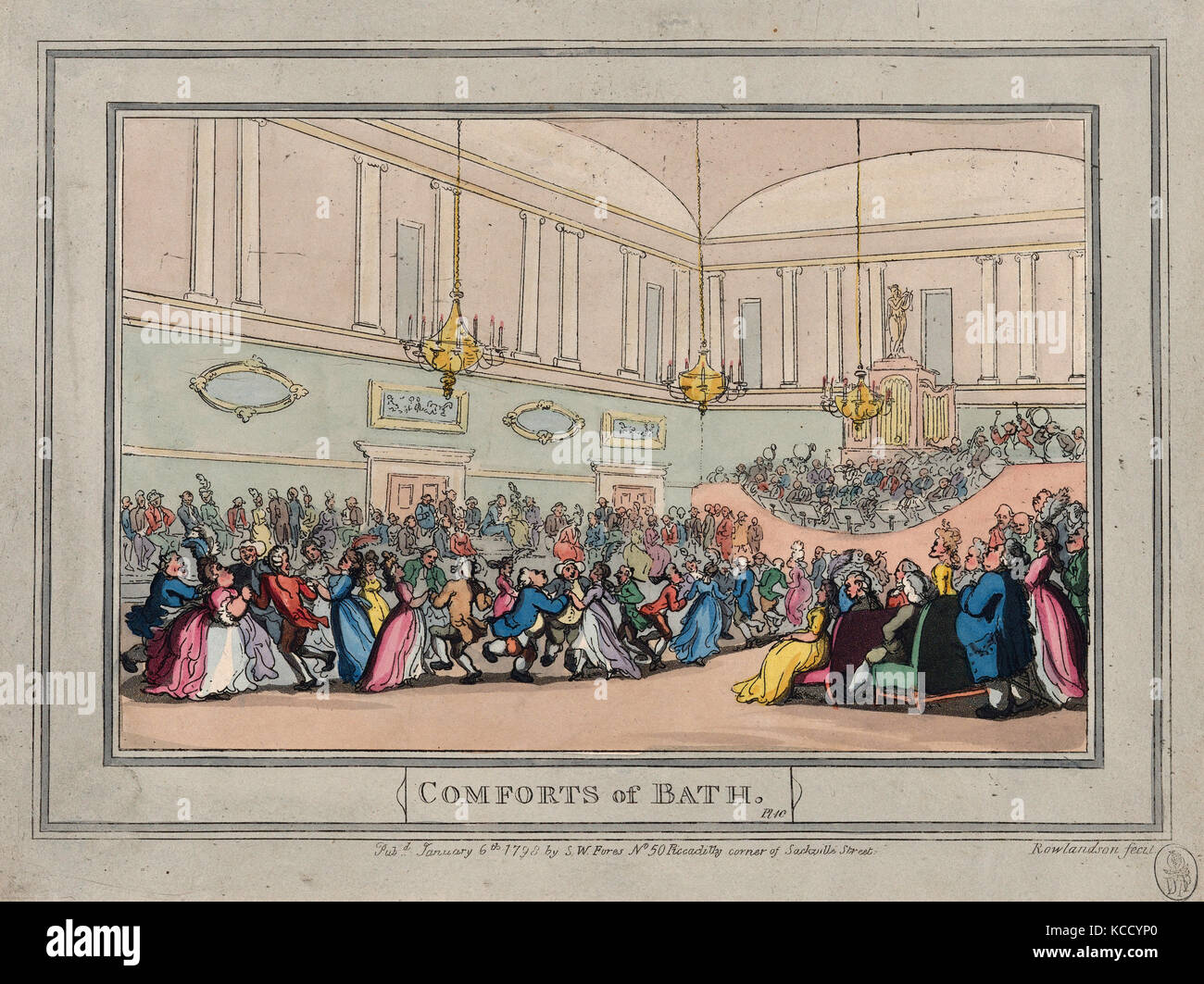Drawings and Prints, Print, Comforts of Bath, Plate 10, Comforts of Bath, Artist, Publisher, Thomas Rowlandson Stock Photo