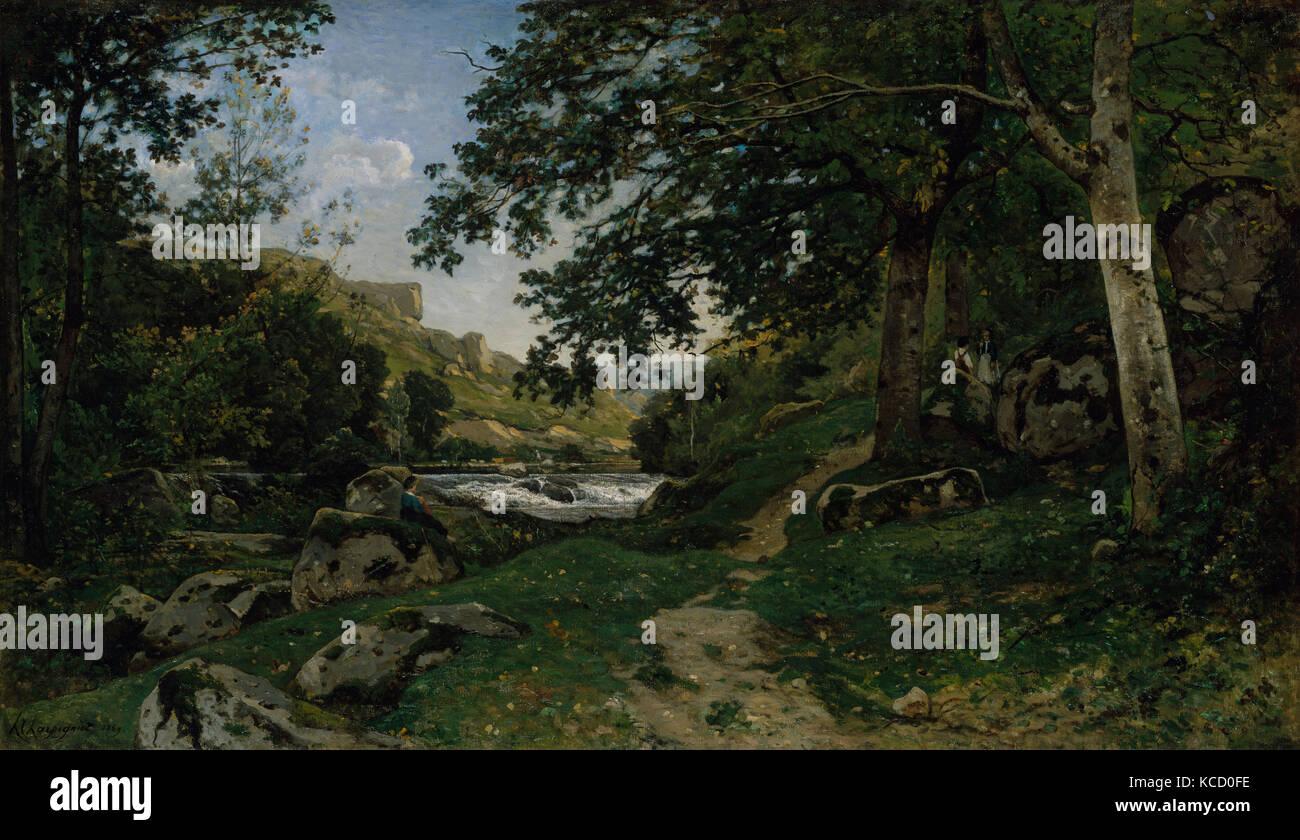 The Rocky Path in the Morvan (Chemin des roches dans le Morvan), Henri-Joseph Harpignies, 1869 - Stock Image