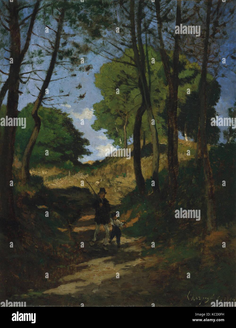 Fir Trees in Les Trembleaux, near Marlotte (Sapins aux Trembleaux à Marlotte), Henri-Joseph Harpignies, 1854 - Stock Image