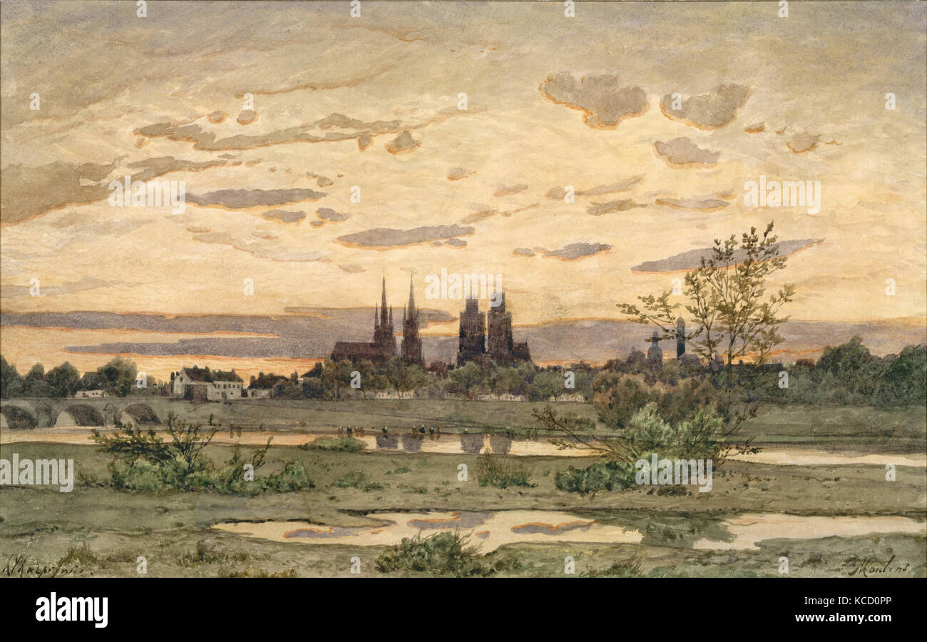 A View of Moulins, Henri-Joseph Harpignies, ca. 1850–60 - Stock Image