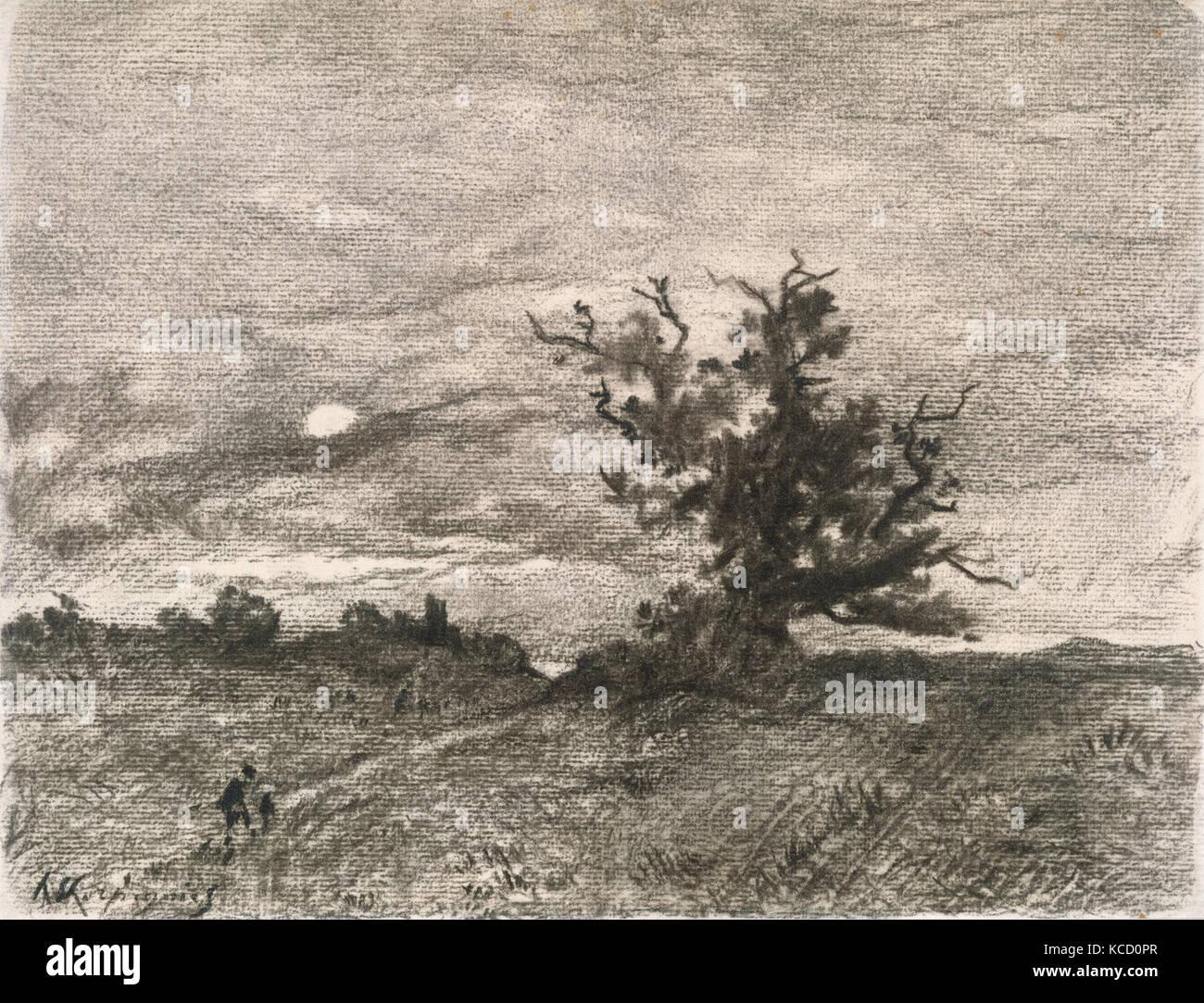 Moonlit Landscape, Henri-Joseph Harpignies, 1900–1910 - Stock Image