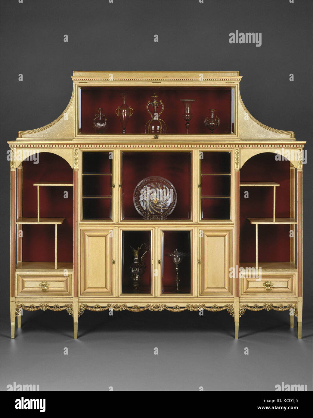 Cabinet, ca. 1883, Made in New York, New York, United States, American, Maple, with painted and gilded surface, - Stock Image