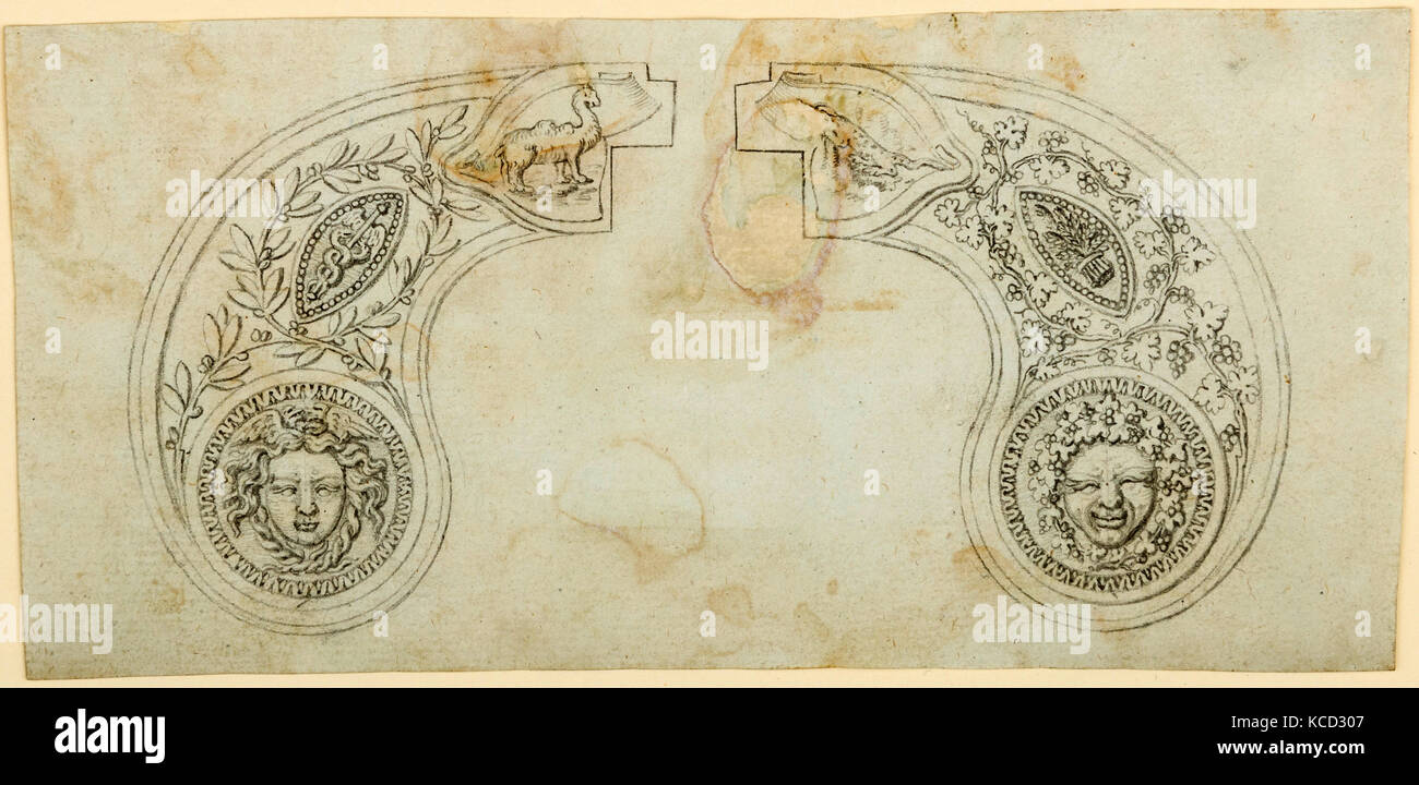 Pair of Designs for the Decoration of the Grips of Pocket Pistols, ca. 1797–1805 - Stock Image