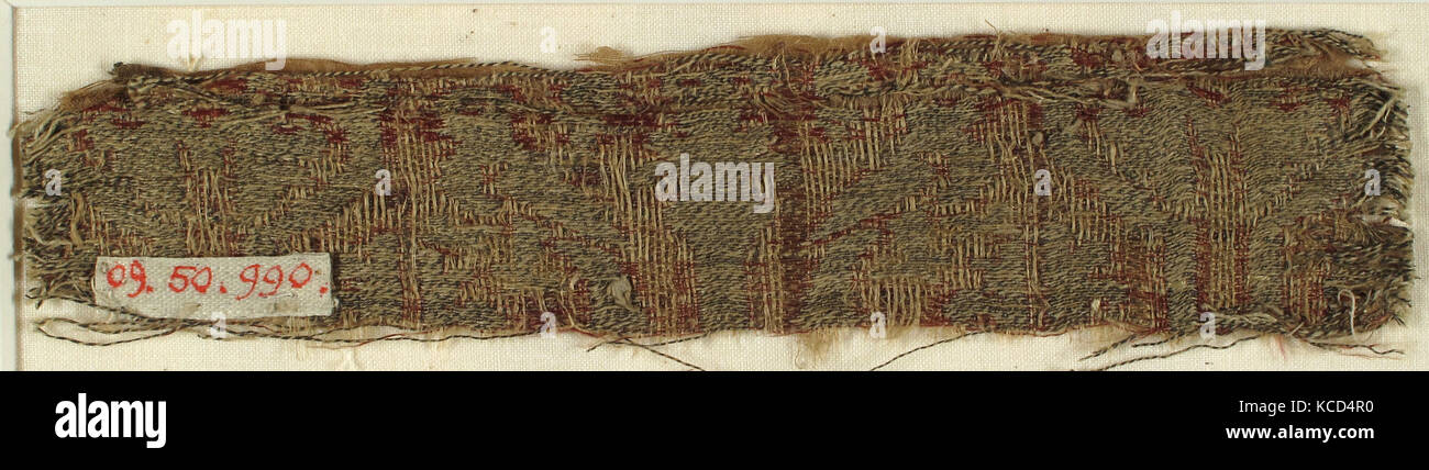 Textile with Confronted Parrots and Conventional Foliage, 12th–13th century - Stock Image
