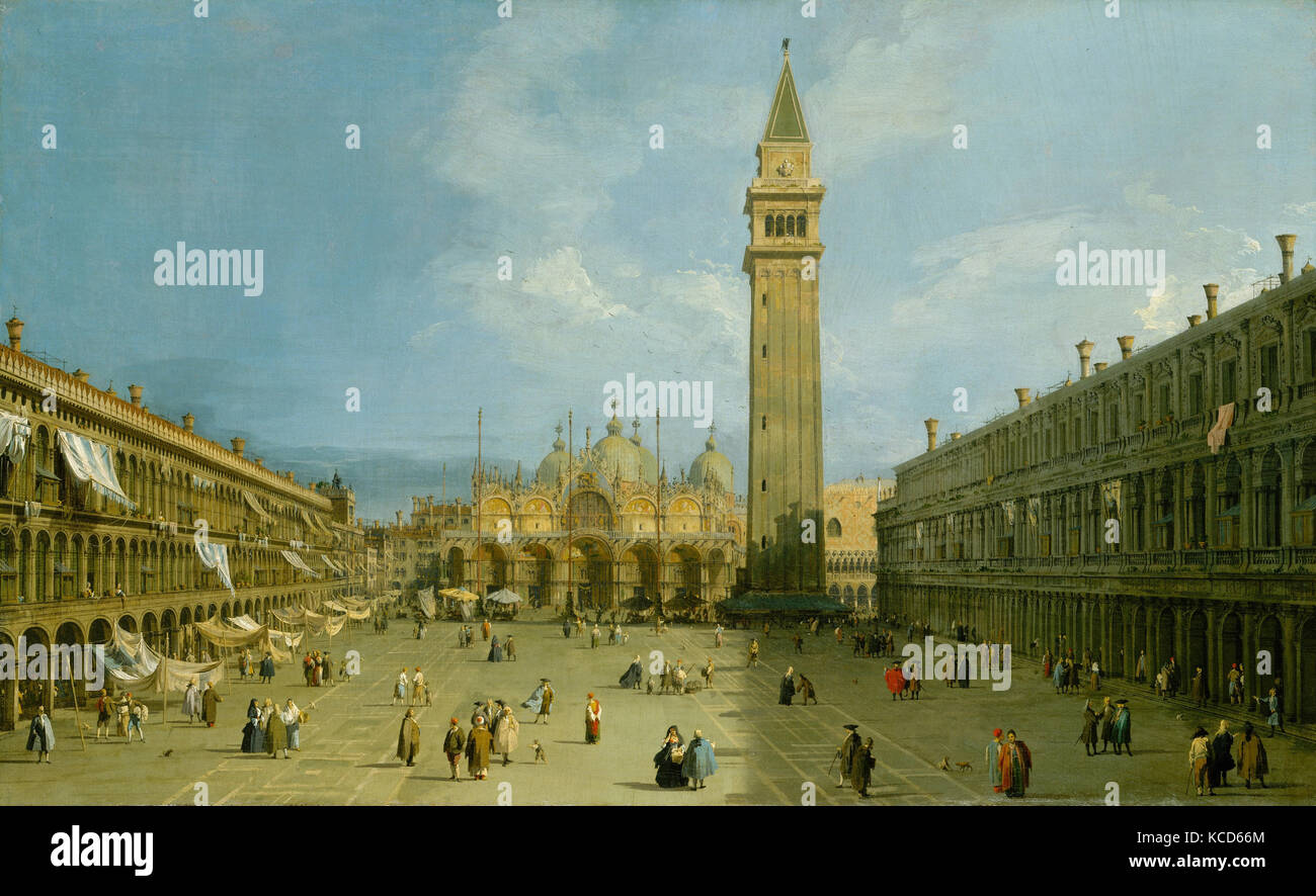 Piazza San Marco, late 1720s, Oil on canvas, 27 x 44 1/4 in. (68.6 x ...