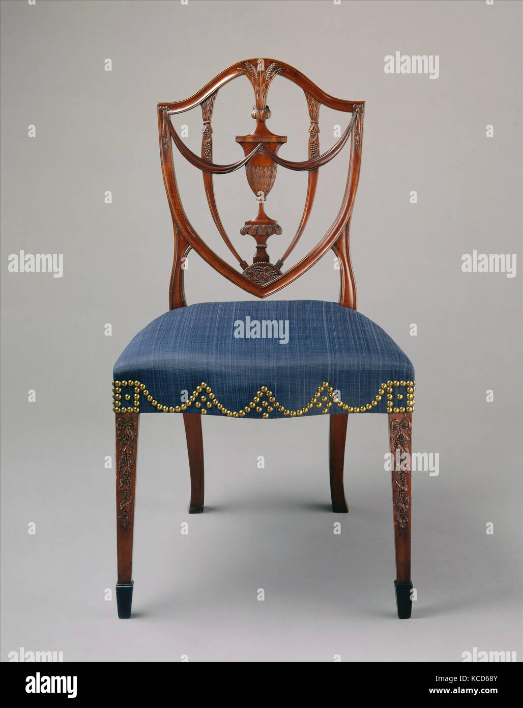 Side Chair, 1794–99, Made in Salem, Massachusetts, United States, American, Mahogany, ebony, ash, birch, white pine, Stock Photo